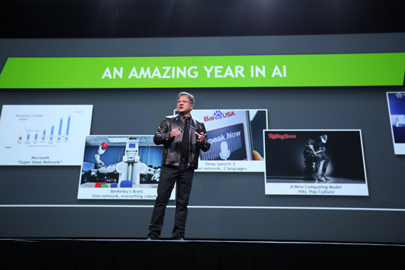 Once a game graphics company, NVIDIA now sets its sights much higher -- on AI, VR, and Big Data. Company CEO Jen-Hsun Huang got ready to discuss advancements in AI at the GTC conference. (Image courtesy of NVIDIA)
