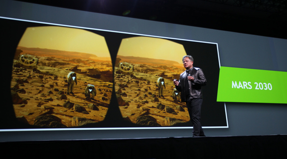 NVIDIA CEO Jen-Hsun Huang demonstrated visiting Martian terrain using a VR goggle during his keynote. VR, he pointed out, could take you to place that too far or too dangerous visit. (Image courtesy of NVIDIA)
