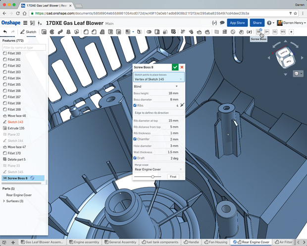 Onshape allows users to customize all aspects of the program with the FeatureScript programming language. Image courtesy of Onshape.