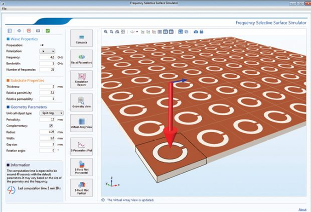 The Frequency Selective Surface Simulator app from COMSOL simulates a user-stipulated periodic structure selected from the built-in unit cell types. Image courtesy of COMSOL.