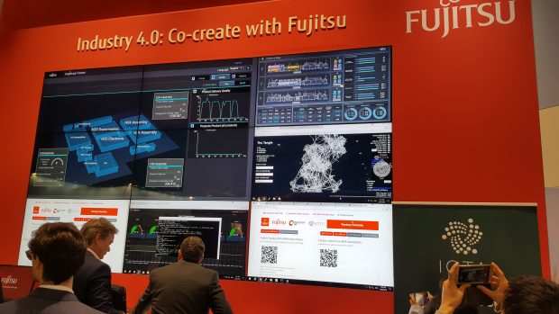 Fujitsu IOTA demo Hannover:Fujitsu demonstrated a possible use case for cryptographic distributed ledger technology, showing how the cryptocurrency technology IOTA could create a hands-off system to tag and track a product from assembly to deployment.