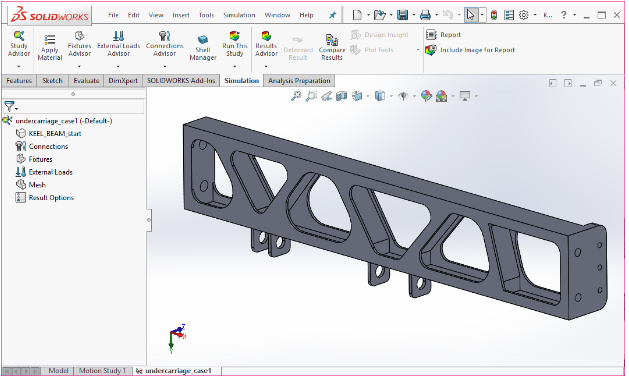 The SOLIDWORKS Simulation tools are shown in. The Study Advisor icon is selected, and a new Simulation Study is set up. This is a static analysis study: undercarriage_case1. Image courtesy of Tony Abbey.